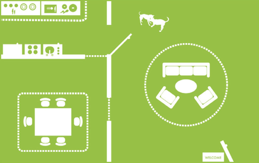 a diagram of an indoor pet containment system from DogWatch of Western Mass